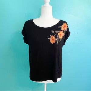 W5 Anthropologie Black Floral Embroidered Top S